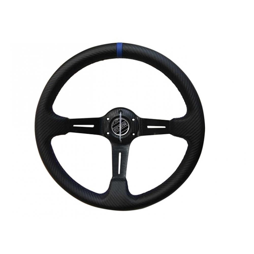 Руль спортивный с выносом, d 35см,черный карбон,синяя нить,черный алюминий,8905