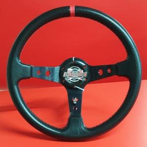 Руль спортивный с выносом, d 35см, черная перфорация,красная нить, черный алюминий, 8903
