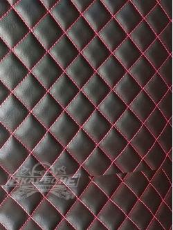 Экокожа прошитая в ромб Черная на поролоне 5мм, строчка Красная, ширина 1,4м