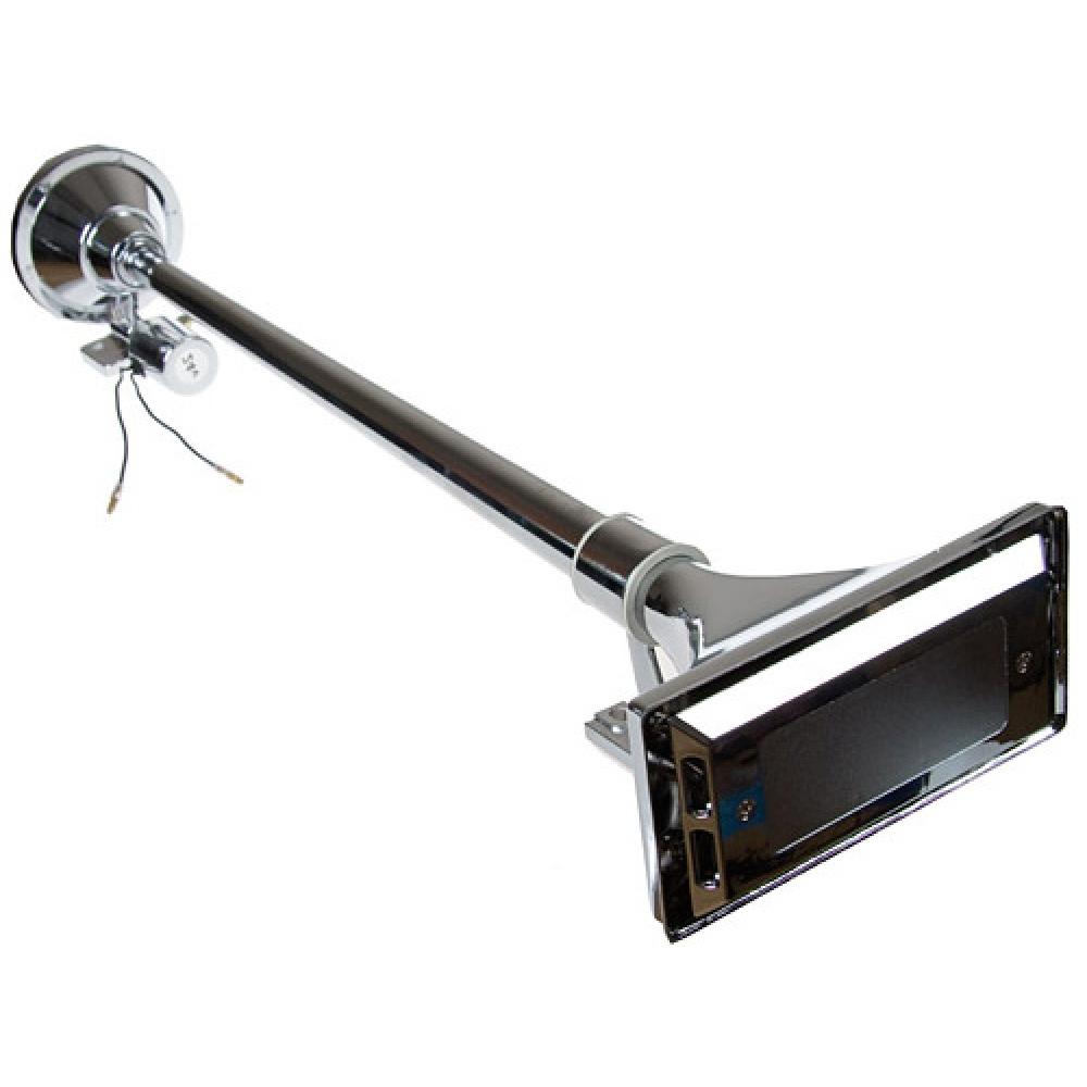 Звуковой сигнал 1-рожковый воздуш.с крышкой 64см, 12-24v (металл,хром, с клапаном)