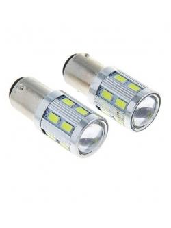 Лампа светодиодная (2 конт) 12SMD+1Cree диод линза BAY15d