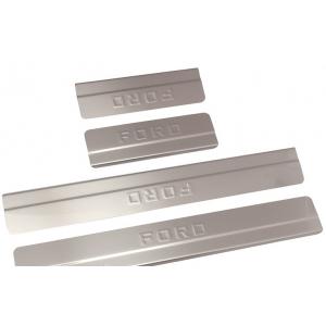 Накладки внутренних порогов FORD Focus II ступен., штамп FOCUS (нерж. сталь) (к-т 4 шт.)
