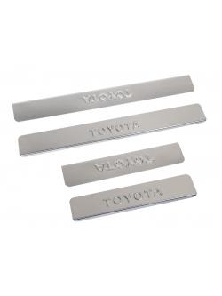 Накладки внутренних порогов TOYOTA Corolla (2013->) (нерж. сталь) (к-т 4 шт.)
