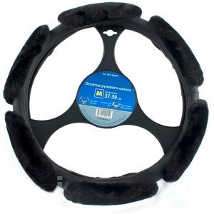 Оплетка руля D=38 см меховая, черная (колбаса)