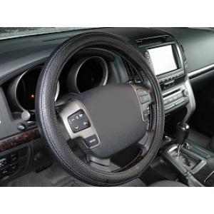 Оплетка на руль кожа, черный, р-р 39-40см QSX-2017