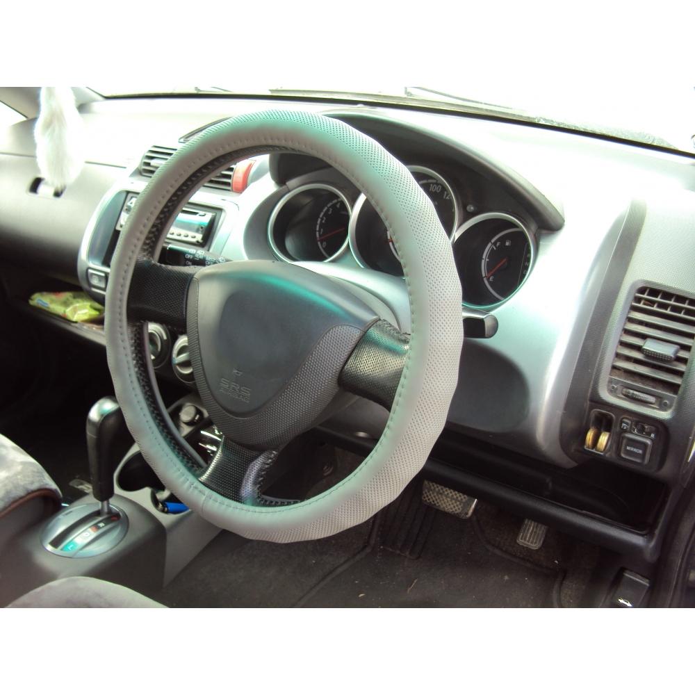 Оплетка на руль кожа, серый, р-р 37-38см QSX-17601