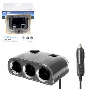 Переходник прикуривателя 3 гнезда + 2 USB 1200мА с удлинителем 72-00-1