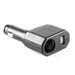 Переходник прикуривателя 1 гнездо + 1 USB 1000мА черный KS-008