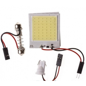 Лампа светодиодная  COB диод 40*35мм (сплошная заливка), 2 переходника, скотч, 12v