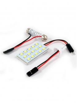 Лампа светодиодная площадка SMD15, 2 переходника, белая, 12v
