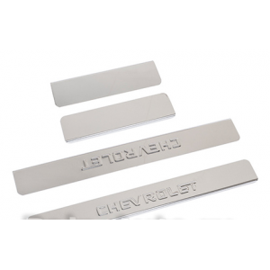 Накладки внутренних порогов CHEVROLET Cobalt, штамп CHEVROLET (нерж. сталь) (к-т 4 шт.)