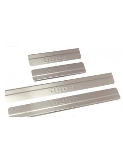 Накладки внутренних порогов FORD Focus III рейсталинг (2015->) ступенчатые (нерж. сталь) (к-т 4 шт.)