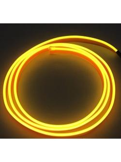 Неоновая лента Желтая с плавником 2м + инвертор в прикуриватель