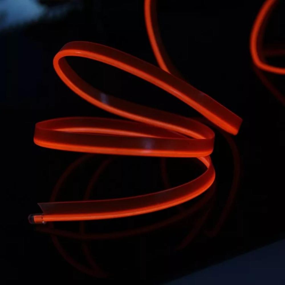 Неоновая лента Красная с плавником 2м + инвертор в прикуриватель