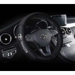 Оплетка на руль с логотипом Toyota, кожа, черный, р-р 37-38см HT-TY01 M
