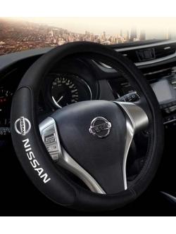Оплетка на руль с логотипом Nissan, кожа, черный, р-р 37-38см HT-NS03 M