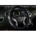 Оплетка на руль с логотипом Hyundai, кожа, черный, р-р 37-38см HT-HY04 M