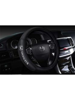 Оплетка на руль с логотипом Honda, кожа, черный, р-р 37-38см HT-HN02 M