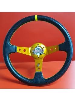 Руль спортивный с выносом, d 35см, черная перфорация,желтая нить,оранжевый алюминий, 8903