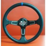 Руль спортивный с выносом, d 35см,черная кожа,синяя нить,черный алюминий,8916