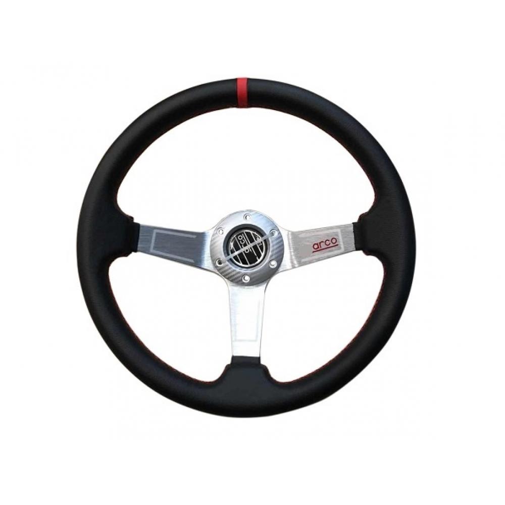 Руль спортивный с выносом, d 35см,черная кожа,красная нить,хром алюминий,8916