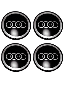 Декоративные наклейки на колпаки Audi 55мм 4шт.