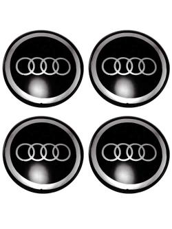 Декоративные наклейки на колпаки Audi 60мм 4шт.