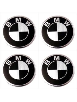 Декоративные наклейки на колпаки BMW 55мм 4шт.