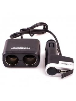 Переходник прикуривателя 2 гнезда + 1 USB 1000мА с удлинителем KS-0097