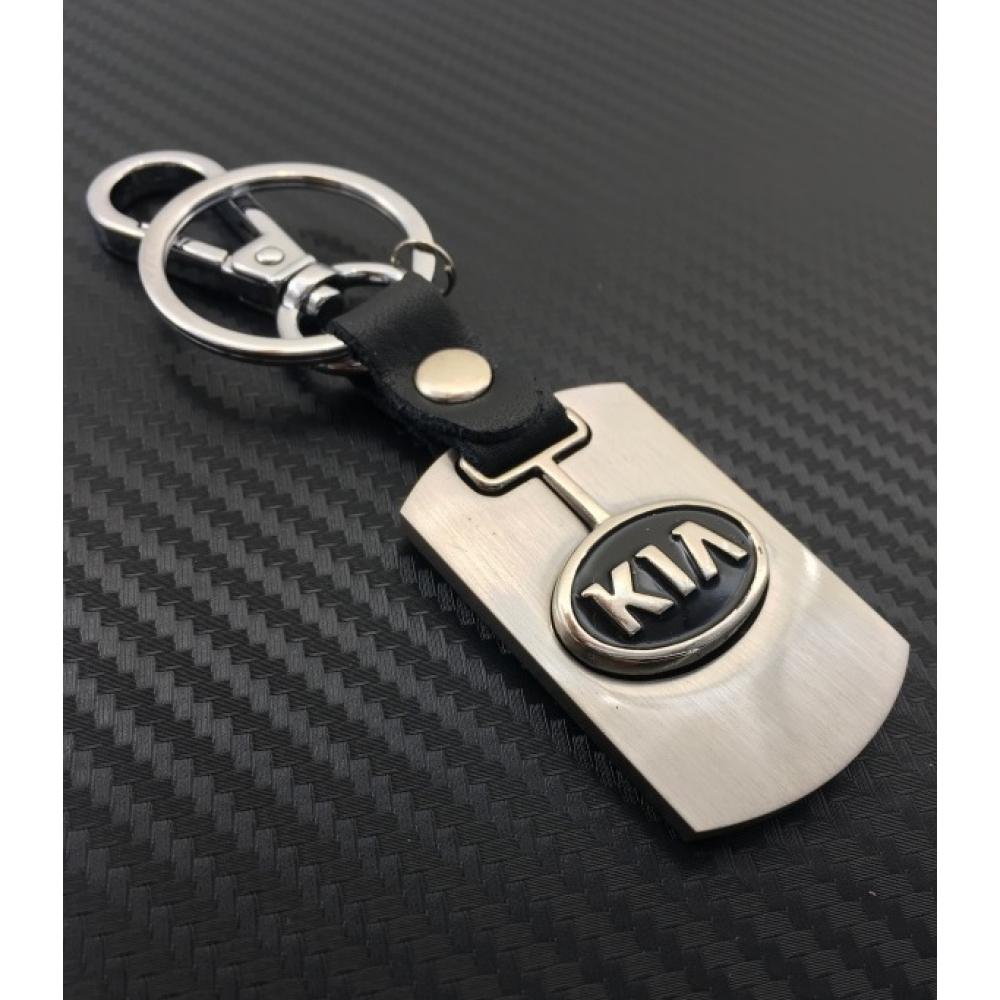 Брелок-карабин (металл-кожа) Kia 0394