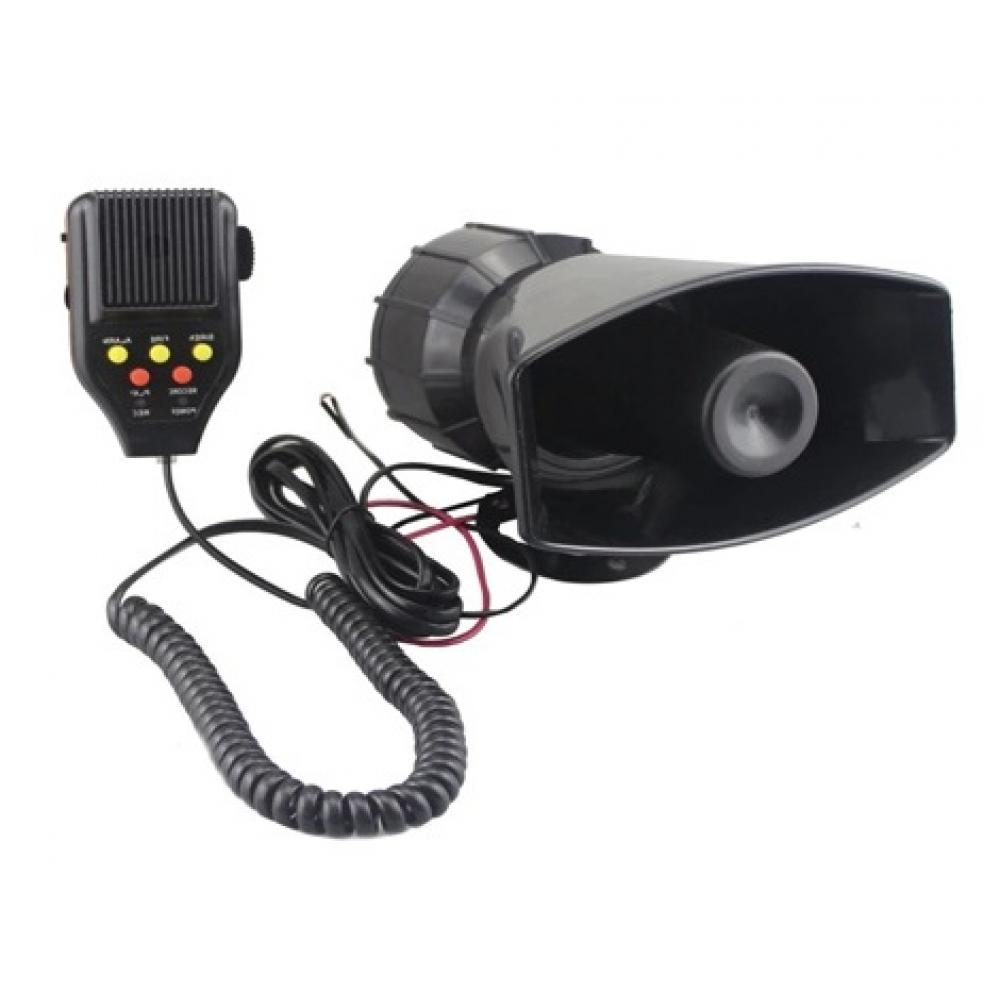 Сирена 5 тональная (СГУ) с микрофоном, с записью, мощная 12V E-500 100W