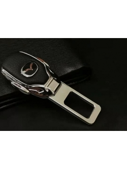 Заглушка ремня безопасности металл/кожа с логотипом Mazda
