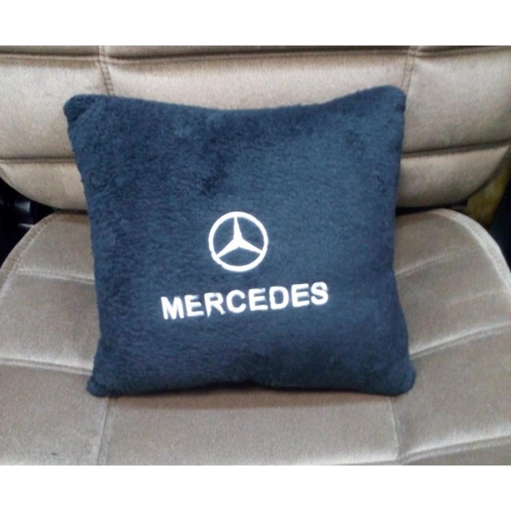 Подушка с логотипом Mercedes, 30*30см, черная