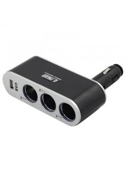 Переходник прикуривателя 3 гнезда + 1 USB 500мА KS-0100