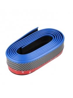 Резина для отделки бампера авто черный карбон, синий кант 2,5мх5,5см