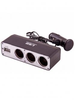 Переходник прикуривателя 3 гнезда + 1 USB 500мА с удлинителем KS-0096