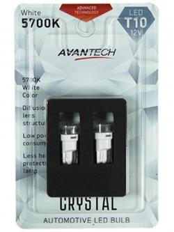 Лампа светодиодная Avantech 12v T10 W5W 5700k (линза), 2шт