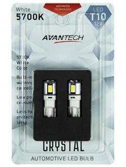 Лампа светодиодная Avantech 12v T10 W5W 5700k (резистор), 2шт