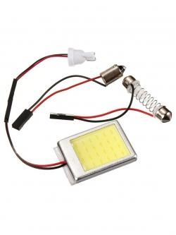 Лампа светодиодная  COB диод 32*26мм (сплошная заливка) в корпусе, 2 переходника, скотч, 12v