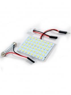 Лампа светодиодная площадка SMD48, 2 переходника, белая, 12v
