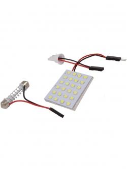 Лампа светодиодная площадка SMD24, 2 переходника, белая, 12v