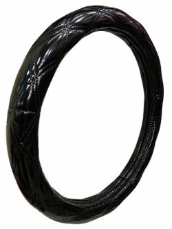 Оплетка на руль кожа, черный, р-р 37-38см DX-2111
