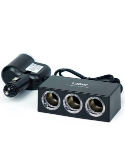 Переходник прикуривателя Olesson 1+3 гнезда + 1 USB 1.2А черный 1527