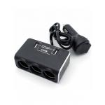 Переходник прикуривателя с вольтметром Olesson 3 гнезда + 2 USB 2.1А черный 1639
