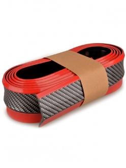 Резина для отделки бампера авто черный карбон, красный кант 2,5мх5,5см
