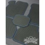Эва коврики Приора черные + черный кант с синей строчкой