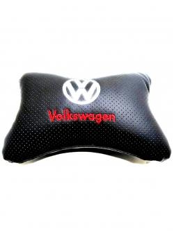 """Подушка на подголовник """"косточка"""" перфор. эко-кожа, черная для а/м Volkswagen"""