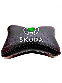 """Подушка на подголовник """"косточка"""" перфор. эко-кожа, черная для а/м Skoda"""