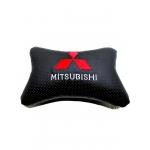 """Подушка на подголовник """"косточка"""" перфор. эко-кожа, черная для а/м Mitsubishi"""