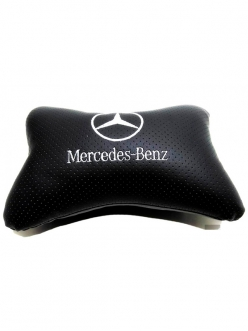 """Подушка на подголовник """"косточка"""" перфор. эко-кожа, черная для а/м Mercedes"""